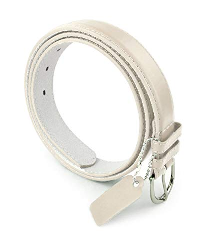 (Womens Chic Dress Belt Bonded Leather Polished Buckle - Beige Medium )