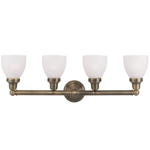 Livex Lighting 1024-01 Classic 4-Light Bath Light, Antique Brass - Brass Classic Lighting