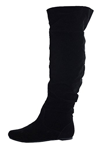 Ladies Flat Winter Biker Style Low Heel Calf High Leg Knee Boots Size - shoeFashionista Branded