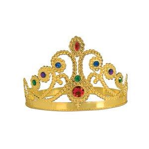 Plastic Jeweled Queen Tiara - Gold