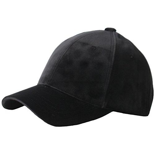 Cap Silk Baseball (RaOn B182 Velvet Silk Fabric Feel Basic Simple Ball Cap Baseball Hat Truckers (Black))