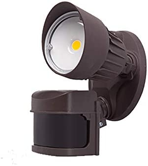 LED Outdoor Security Flood Light with Motion Sensor, 10W, Single Head, Brown Color, LED Motion Security Light, Garage, Front, Back Yard, Porch 5700K