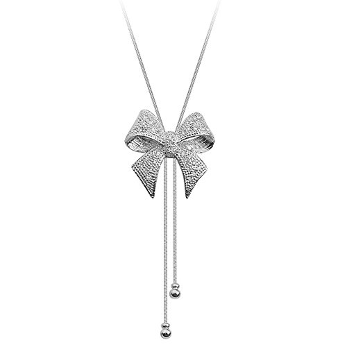 Acefeel Big Bow Tie Ribbon Made with Swarovski Element Crystal Pendant Necklace Fashion Jewelry for Girls N153