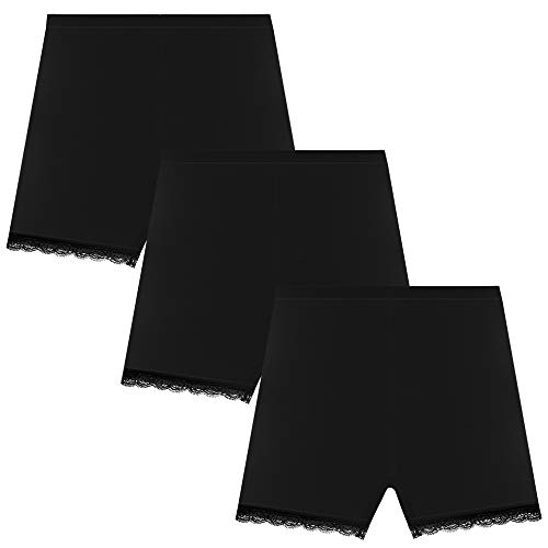 Bossail 3-12 Years Girl's Solid Color Lace Trim Boyshort Underwear Safety Dress Panties 4 Pack (3 Black, 6-8 Years)