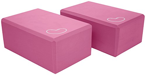 Yoga Block 1 or 2 pack 4 in. x 6 in. x 9 in. Larger Size 4 colors by Bean Products - PINK - 2 Pack