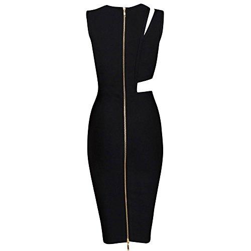Schwarz Asymmetrische Midi Frauen Schlank HLBandage Verband Reizvoller Ausschnitt Kleid n8vg8UTx