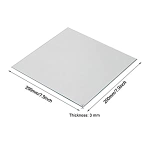 Wisamic Clear Borosilicate Glass Heat Bed 200x200x3mm for 3D Printers Prusa, Monoprice Maker Select V2, Monoprice Maker Select Plus, etc from Wisamic
