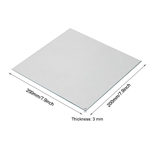 Wisamic Clear Borosilicate Glass Heat Bed 200x200x3mm for 3D Printers Prusa, Monoprice Maker Select V2, Monoprice Maker Select Plus, etc by Wisamic