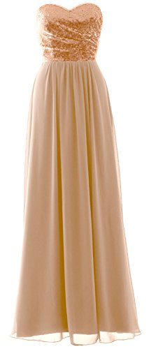 Strapless Chiffon MACloth Sequin Rose Gold Bridesmaid Dress Formal Long Gown Party Elegant rrqngSYZ