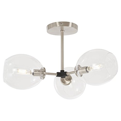 (George Kovacs P1363-619 Nexpo Semi Flush, 3-Light 180 Total Watts, Brushed Nickel with Black Accents)