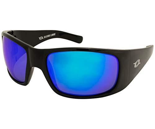Clear Lake Montana Polarized Wrap Around Sport Sunglasses for Men & Women w/Blue Mirror Lenses (Black/Blue)
