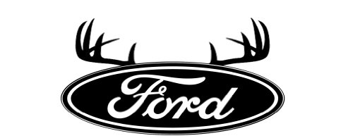 Automobile Logo's With Antlers Or Horns, Ford 10, Vinyl Car Decal, 'Chrome Diamond Plate', '10-by-10 inches'
