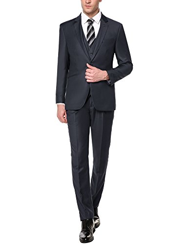 [Coofandy Mens Slim Fit 3 Piece Suit Two Button Blazer Jacket Dress Vest Pleat Front Pants Set] (Suits For Sale)