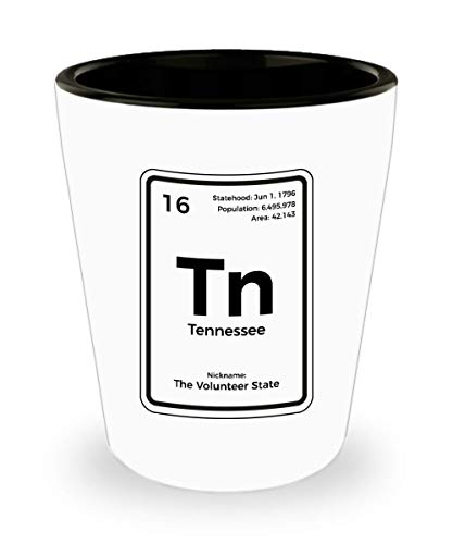 Tennessee Shot Glass Periodic Table Volunteer State Gift