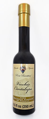 Extra-Vecchio 25 Year Aged Traditional Balsamic Vinegar of Modena 100ml Bottle AND Vecchio Cantalupo 6 Year Aged Balsamic Vinegar of Modena 250ml Bottle-Bundle (2 items) 2 Bundle of 2, Qty of 1, Rossi Barattini 6 Year & Qty of 1, 25 Year Aged Balsamic Vinegar of Modena The Cantalupo Vecchio has a syrupy consistency with a sweet & tart flavor. An inexpensive alternative to the Traditionals. The Extra-Vecchio Traditiona Balsamic Vinegar of Modena is aged for a minimum of 25yrs.
