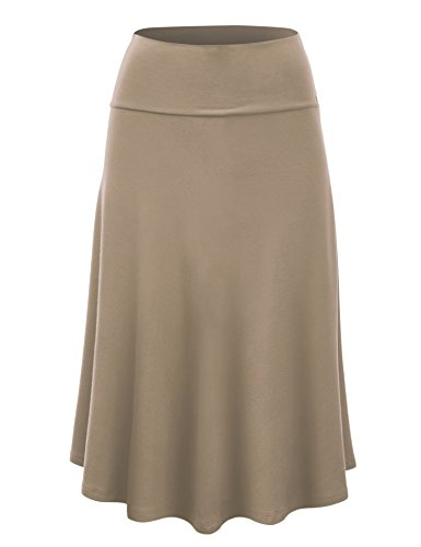 Lock and Love WB1105 Womens Lightweight Fold Over Flared Midi Skirt M (Mid Length Stretch Skirt)