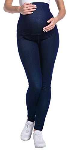 Happy Mama. Womens Maternity Denim Look Leggings Overbump Waistband Pants. 948p (Navy Jeans, US 4/6, L)