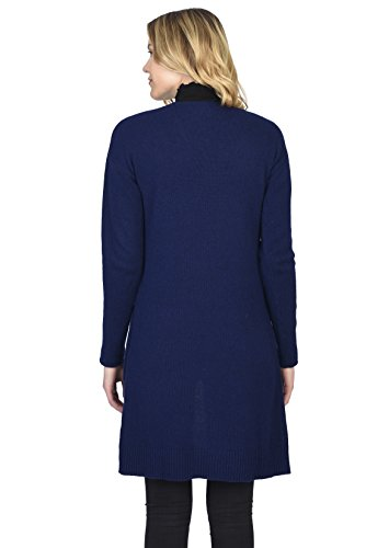 State Cashmere Women's 100% Pure Cashmere Open Front Long Cardigan, Navy, Large by State Cashmere (Image #3)
