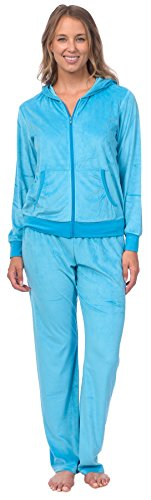Pink Lady Womens Soft Velour Zip Hoodie and Bottoms Lounge Tracksuit (Cyan Blue, ()