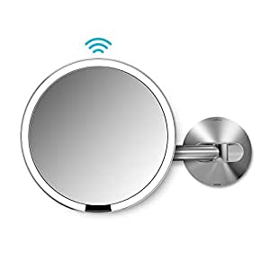 """simplehuman Sensor Lighted Makeup Vanity Mirror 8"""" Round Wall Mount, 5x Magnification, Stainless Steel, Rechargeable And Cordless"""