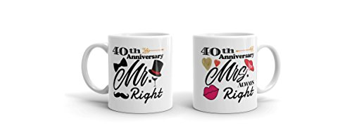 """Ivory 40th Anniversary Gifts Coffee Novelty Mug Set - """"Mr. Right"""" and """"Mrs. Always Right"""""""