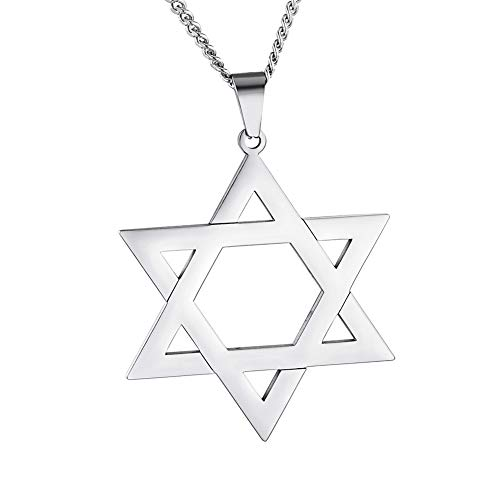HooAMI Star of David Pendant Necklace Stainless Steel Jewish Jewelry for Men Women Religious ()
