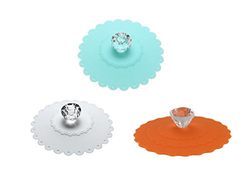 AKOAK 3 PCS New Cute Anti-dust Silicone Acrylic Diamond Glass Cup Cover Coffee Mug Suction Seal Lid Cap,Light Blue,White and Orange ()