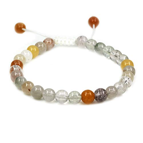 Natural Multicolor Rutilated Quartz Gemstone 6mm Round Beads Adjustable Bracelet 7