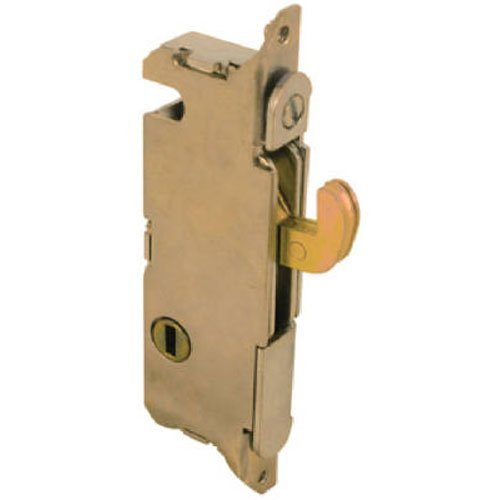 """Slide-Co 15410 Mortise Lock - Adjustable, Spring-Loaded Hook Latch Projection for Sliding Patio Doors Constructed of Wood, Aluminum and Vinyl, 3-11/16"""", Vertical Keyway, Round Face"""
