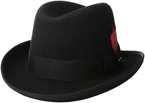 SCALA Men's Wool Felt Homburg Hat, Black, Medium