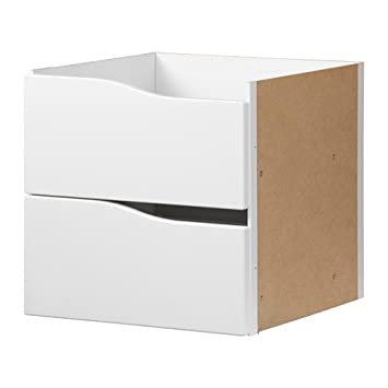 Unbekannt Ikea Kallax Einsatz Mit 2 Schubladen Ohne Griff In Weiß