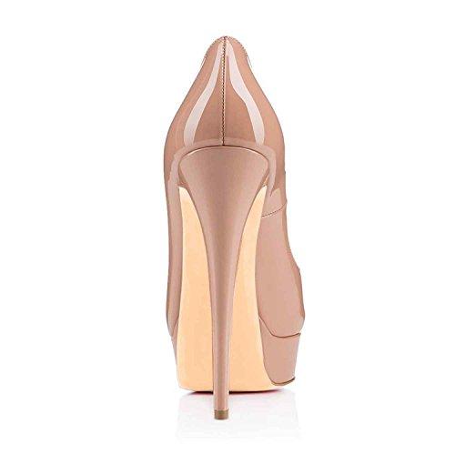 Arc-en-Ciel zapatos de plataforma de la mujer peep toe de tacón alto-nude-us14