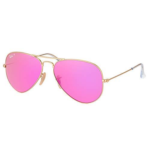 Ray-Ban RB3025 Aviator Flash Mirrored Sunglasses, Matte Gold/Polarized Violet Flash, 58 mm (Ray Ban Aviator 62mm)