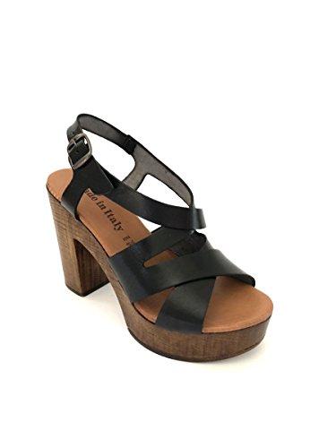 de ZETA para vestir negro mujer Piel SHOES de Sandalias 7qBr6qI