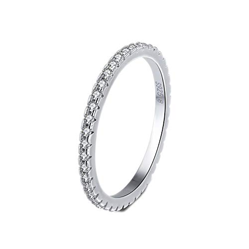 925 Sterling Silver Rings Women Classic Round Full Pave AAA Cubic Zircon Engagement Wedding Band Ring for Girls,11 - Pave Tiffany Style