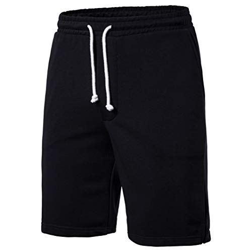 SIR7 Men's Summer Sports Sweat Shorts,Casual Cotton Front Flat Shorts Black