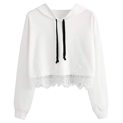 - Sttech1 Women Long Sleeve Sweatshirt Blouse, Ladies Solid Color Lace Panel Hoodie Pullover Casual Tops Shirt