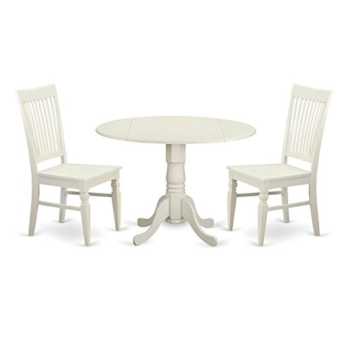 East West Furniture DLWE3-WHI-W 3 Piece Kitchen Table and 2 Dining Room Chairs Set for 2 People (For Two Table Breakfast)