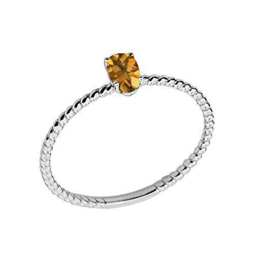- Dainty 14k White Gold Stackable Oval-Shaped Citrine Rope Engagement/Promise Ring (Size 7.75)