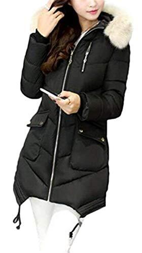 Encapuchado Largo Manga Abrigos De Schwarz Caliente Transición Con Niña Largas Moda Elegante Mujer Parkas Retro Abrigo Invierno Cremallera Espesar xIw6qYaOH