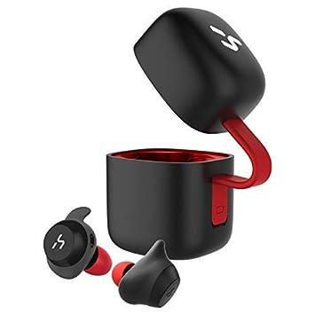 HAVIT TWS - Auriculares Inalámbricos 21 Horas Auriculares Bluetooth con Cargador Portátil Soporte de Inteligencia Artificial y Resistente al Agua (Rojo): ...