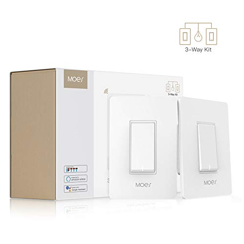 MOES 3 Way WiFi Smart Switch for Light,Compatible with Alexa and Google Home,No Hub Required,Smart Life APP Provides Control from Anywhere