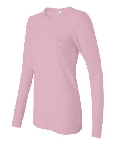 (Bella Women's Irene Long Sleeve Thermal T-Shirt - SOFT PINK - X-Large)