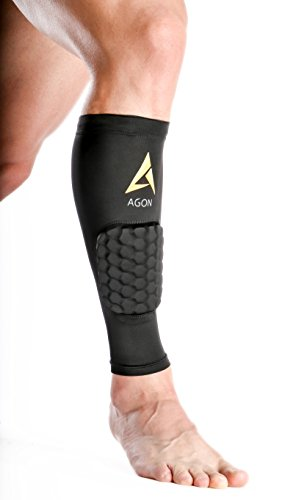 Agon Calf Compression - SINGLE SLEEVE With Padding Brace Support Shin Guard Leg Compression Socks for Splint, Calf Pain Relief - Men, Women, and Runners for Running Cycling (Small)