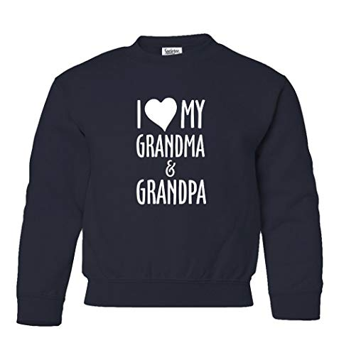 (Societee New Graphic I Love My Grandma & Grandpa Spoiled Cute Unisex Youth Sweatshirt Crewneck Sweater (Navy, Youth Medium))