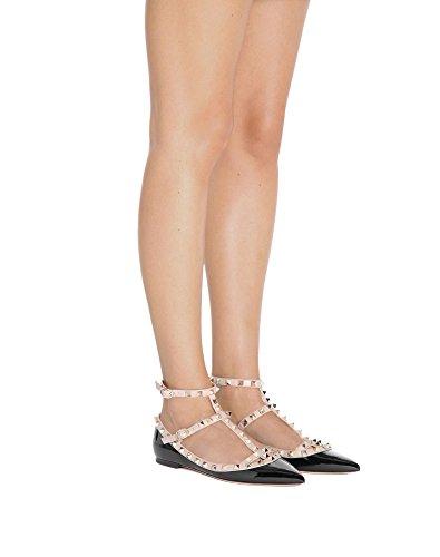 Strap Black Punta Donna a Costellato Pan degli Borchie Slingback FibbiaPunta Ballerine nude Appartamenti Strappy Caitlin Pelle TZOfwqx