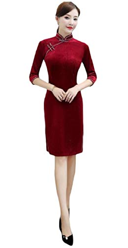 QUHSWomen 3/4 Sleeve Pure Stand Collar Silm Fit Cheong-sam Dress AS1 L ()