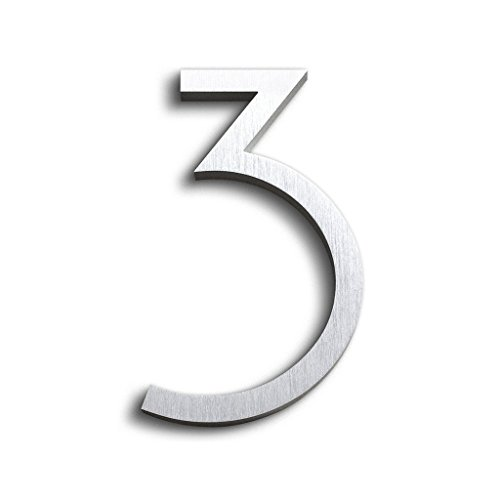 Modern House Number Aluminum Contemporary Font Number Three3 6 inch