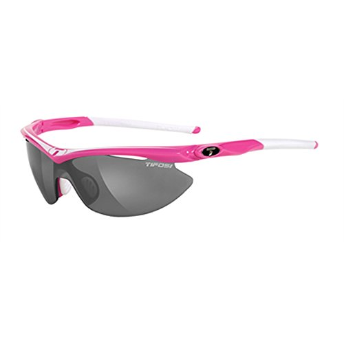 Tifosi Womens Slip T-I006 Shield Sunglasses,Neon Pink Frame,Smoke,Red and Clear Lens,One - For Running Fog Sunglasses Anti