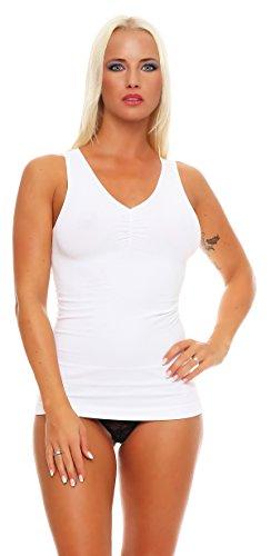2 Stück Damen Form-Unterhemden Shapewear sanft formend verschiedene Farben kaschiert Taille und Bauch ohne Nähte Seamless Gr. 44/46